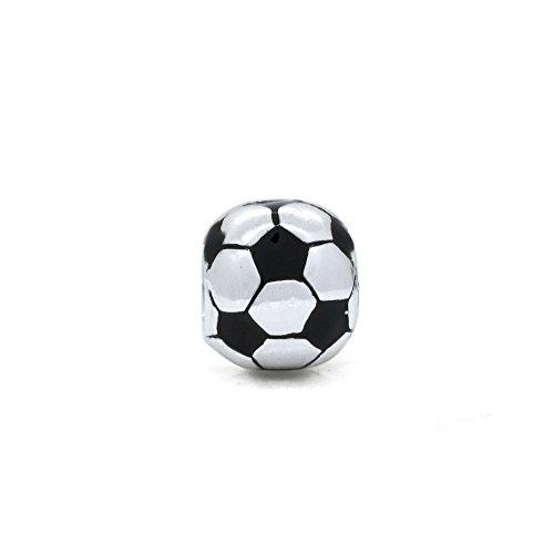 Calcio smaltato in argento Sterling 925, adatto per Pandora, Chamilia, Biagi, Troll Beads bracciali stile al