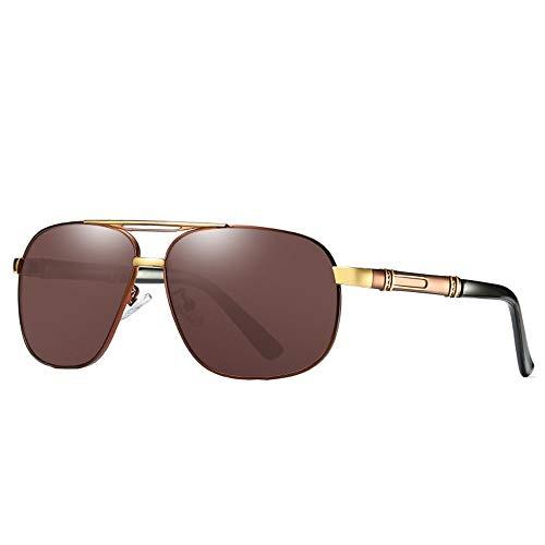 DKee Gafas de Sol Nuevas Gafas De Sol Polarizadas De Los Hombres Gafas De Sol Retro Marrones Clásicas Gafas De Conducción Al Aire Libre Protección UV400 Templos Patrón De Personalidad