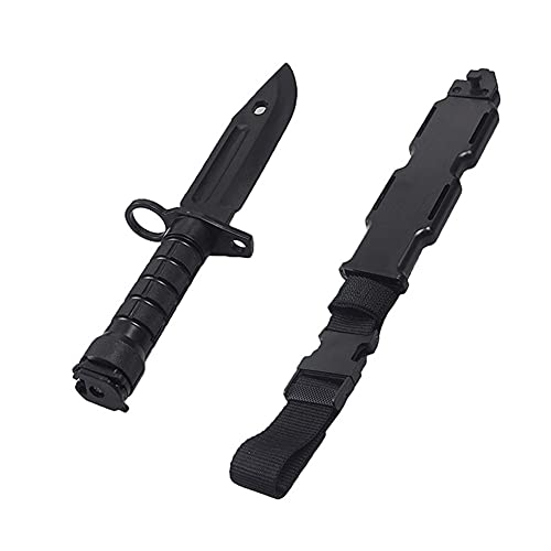 Wwman Airsoft Trainingsmesser Schwarz Kampfkunst Modell Weich Messer Taktisch ABS Kunststoff Messer, für CS Cosplay Halloween