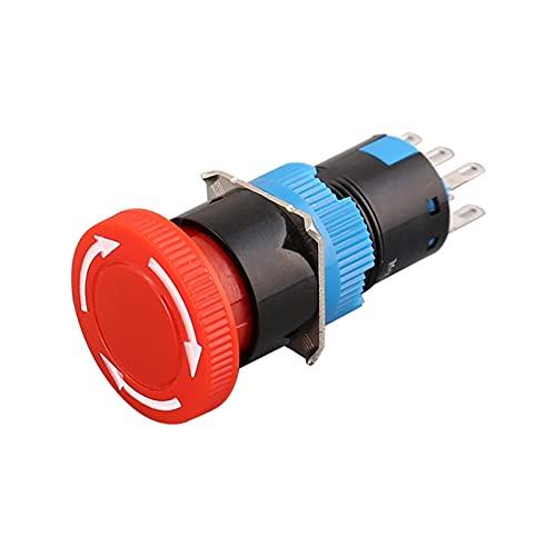 JSJJAET Interruptor Giratorio Interruptor de Parada de Emergencia de la Cabeza de champiñones Grande 16 mm 3 Pin Terminal Lock de la Cerradura giratoria Pulsador de plástico
