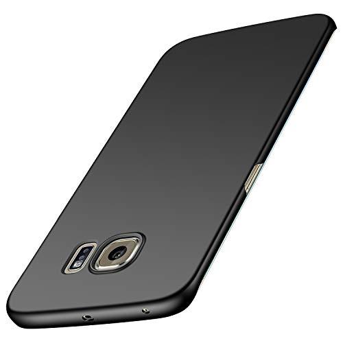 Karomenic Plastik Hart PC Hülle kompatibel mit Samsung Galaxy S6 Edge Plus Schutzhülle Ultra Dünn Anti-Scratch Handyhülle Anti-Fingerabdruck Stoßdämpfend Hardcase Bumper Cover Tasche Schale,Schwarz