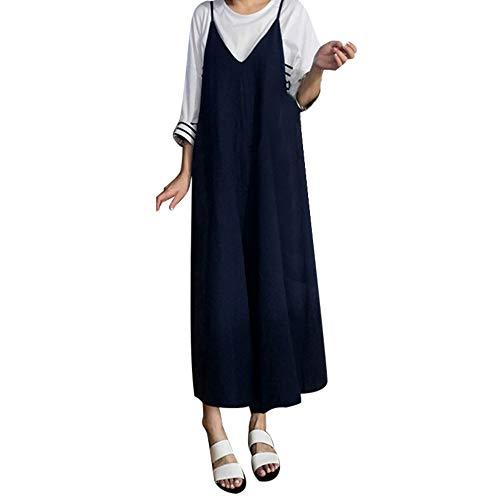 Auifor Plus-dames, katoen, linnen, jumpsuit baggy overall broek met brede pijpen
