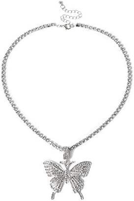 Nanafast Tennis Link Chain Butterfly Necklace Iced Out Zirconia Butterfly Pendent Hip Hop Choker product image