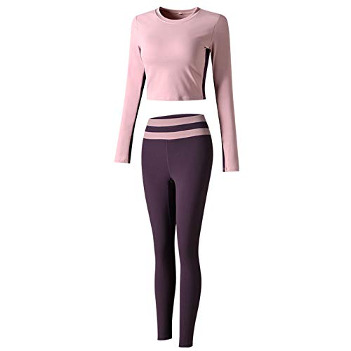 Women's Workout Outfit 2 Pieces Seamless High Waist Yoga Leggings with Long Sleeve Crop Top Gym Clothes Set