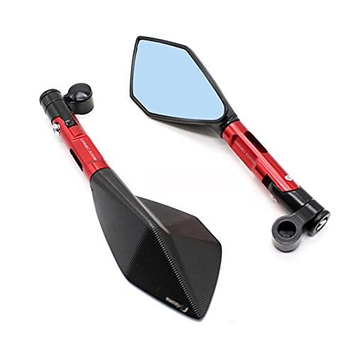 Espejos de Motocicleta Espejos retrovisores Laterales de Moto para R1 R3 R125 FZ6 FZ1 FAZER XV 950 MT07 MT09 MT 03 1200 para Motocicleta Espejo retrovisor Izquierdo y Derecho (Color : Red Blue)
