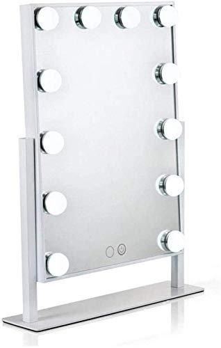 Draagbare tafelbladen Verstelbare Hollywood Light Up make-upspiegel met LED-verlichting voor kaptafel Professionele verlichte cosmetische spiegel met 12 dimbare lampen inclusief voeding