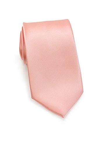PUCCINI Uni Krawatte, Tie, Binder, Herren-/Hochzeitskrawatten, Schlips, Plastron │ 8.5cm schmal-slim │ einfarbig-unifarbig: Lachsfarben - Rosa