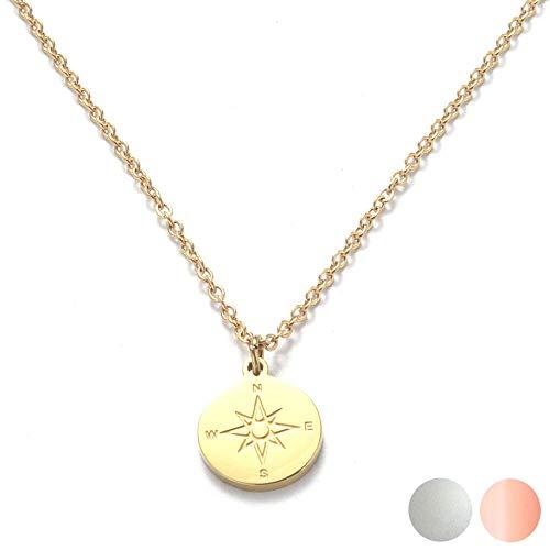 Kim Johanson Edelstahl Damen Halskette *Kompass* in Silber, Gold & Roségold mit einem Anhänger Travel Boho Schmuck Multilayer Kette verstellbar inkl. Schmuckbeutel (Gold)