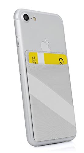 MyGadget Porta Tarjetas de Crédito Adhesiva con 1 Bolsillo + Elástico para Móvil - Tarjetero Adhesivo Universal - Funda Cartera con Bloqueo RFID - Argento