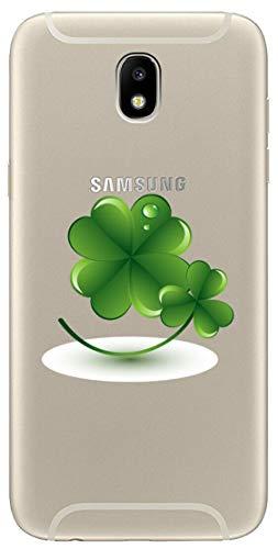 Mixroom - Cover Custodia Case in TPU Silicone Morbida Sfondo Trasparente per Samsung Galaxy J3 2017 Fantasia Quadrifoglio U1075