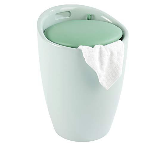 WENKO Badhocker Candy Mint, Hocker mit Stauraum für das Badezimmer und Wohnzimmer, integrierter Wäschesammler, ABS-Kunststoff, Fassungsvermögen 20 L, Ø 36 x 50,5 cm