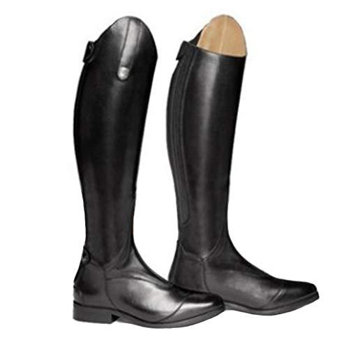 MWbetsy Kniehohe Lederstiefel REIT Reiten Lange Stiefel Unisex Große Motorrad-Schuh-Mode-Sport Outdoor Arbeits-Ebene-beiläufige Wide Leg Schuhe,Schwarz,48