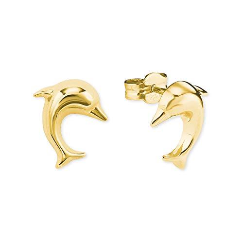amor Ohrstecker für Damen, Gold 585, Delphin