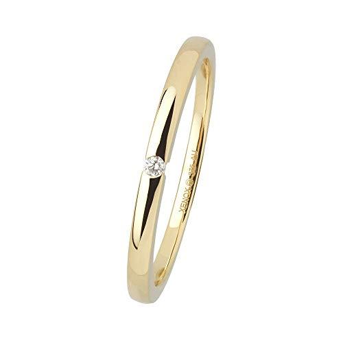 Xenox Damen Ring 9 Karat 375er Gelbgold mit 0,015 ct Diamanten - Fashion XG4420G, Ringgröße (Durchmesser):54 (17.2 mm Ø)