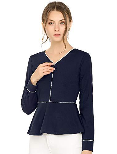 Allegra K Damen Langarm V Neck Ruffle Peplum Top Bluse Navy Blau XS