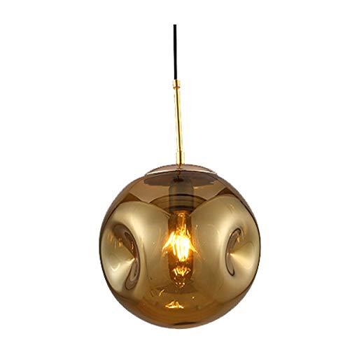 WYNA Lampada a Sospensione Moderna in Vetro, Regolabile Cord Hang Globe lampadario Luce, per Loft Bar Isola della Cucina Soggiorno Sala da Pranzo,d'oro