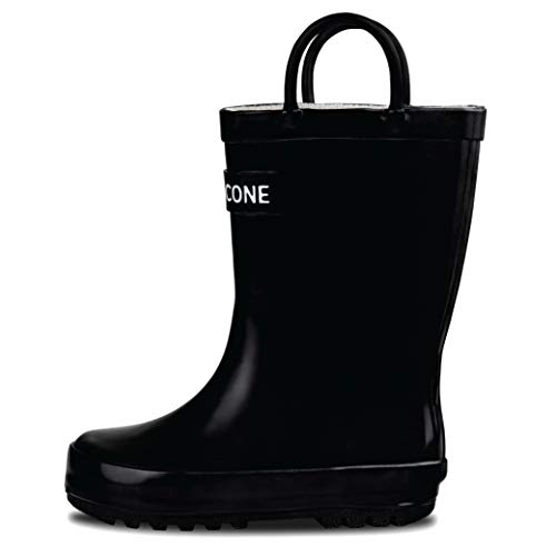 LONECONE Rain Boots with Easy-On Handles for Toddlers and Kids, Shiny Black, Little Kid 1
