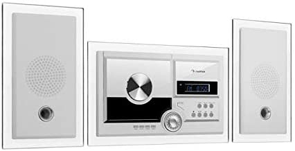 auna Stereosonic Microsystem • Stereo System • Micro System • 2 x 10 Watts RMS Stereo Speakers • Front-Loading CD Player • FM Tuner • Bluetooth • USB Port • Incl. Remote Control • White