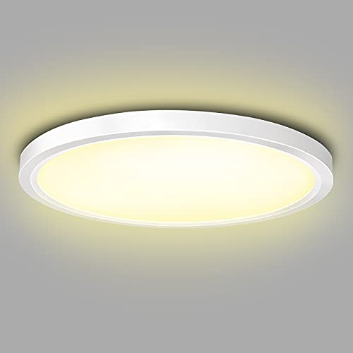 ISUDA LED Deckenleuchte 18W Rund Deckenlampe, LED Aufbaulampe warmweiß, 4000K, 1600LM für Badezimmer/bad/Schlafzimmer/Keller/Balkon, Modern Weiß Ultra Dünn Ø 230 mm* H24 mm [Energieklasse A+]
