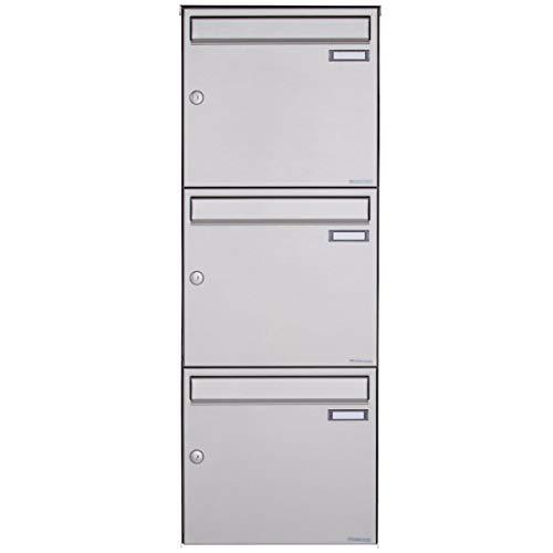3er Edelstahl Aufputz Briefkastenanlage - 3 fach Wandbriefkasten Design BASIC 382A-VA (Edelstahl V2A, 3 Parteien, senkrecht)
