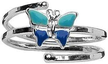 Bague enfant argent ajustable papillon bleu 1001 Bijoux