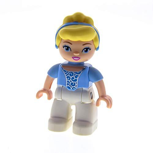1 x Lego Duplo Figur Frau Prinzessin Cinderella Hose weiss Bluse hell blau Haare blond Set 10596 6154 6153 47394pb149