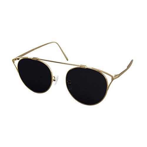 QCSMegy Gafas de Sol Nuevas Gafas De Sol con Montura Redonda Gafas De Moda Tendencia De La Moda Borde Dorado Protección UV400 (Color : Gray)