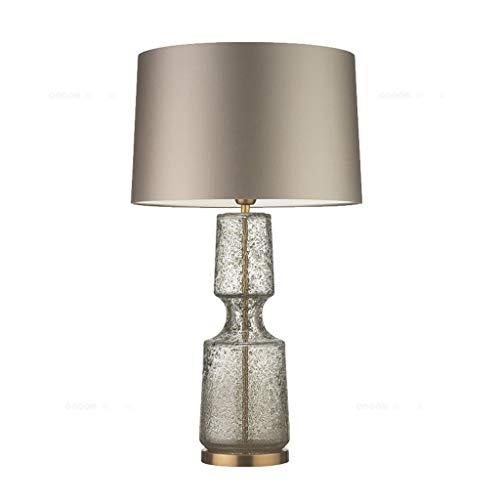 Yxsd Moderne Tischlampe mit Glasfuß und Stoffschirm Nachttischlampe amerikanisches Wohnzimmer Schlafzimmer Arbeitszimmer kreative Schreibtischlampe (Color : C, Size : 37cm*70cm)