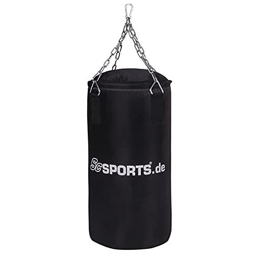 ScSPORTS® Boxsack 60 x 30 cm aus Oxfrod Gewebe mit 4-Punkt Stahlkette, Drehwirbel und Karabiner, gefüllt