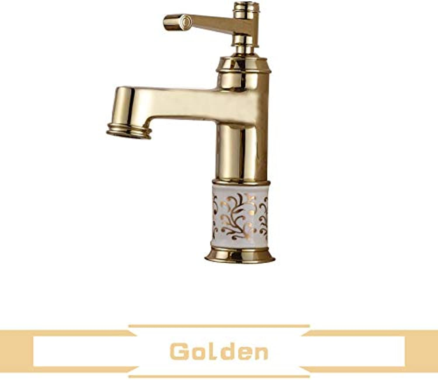 Avety Ceramic Pattern Washing Basin Faucet Brass Single Handle pink golden Bathroom Vanity Sink Mixer Crane Taps B