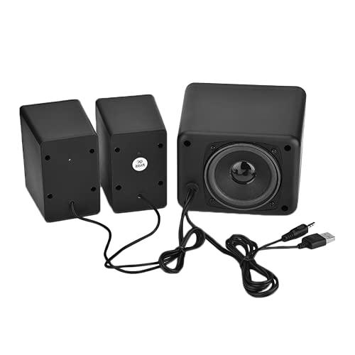 ciciglow Sistema De Altavoces Multimedia, con Subwoofer, Audio De Rango Completo, Graves Fuertes, Entradas De Audio De 3,5 Mm, Altavoz Combinado con Cable USB 2.1 para Teléfono Móvil(Negro)