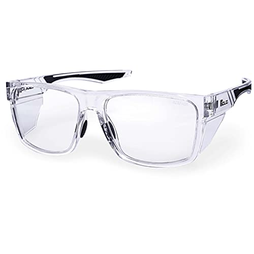 Solid. 360° Safety Glasses with Perfect Fit and special Side Extensions | Eye Protection Goggles with Clear, Anti-Fog, Scratch-Resistant and UV-Protective Lens | For Men & Women