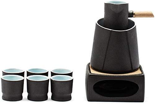 Japanisches Sake-Set, 9-Teiliges Sake-Set Aus Schwarzer Glasur Mit Wärmerem Topf Und Kerzenherd, Sake-Serving-Geschenkset Mit Verbrühungsgriff Für Kalt/Warm/Shochu/Tee