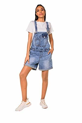 Nina Carter Damen kurze Latzhose Jeans Boyfriend Denim Overall Jumpsuit Used-Look Sommeroverall (Blau (S511), XS, x_s)