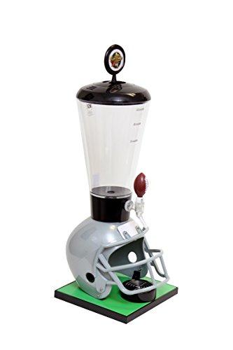 Beer Tubes Grey Football Helmet Beverage Tower Dispenser with Football Tap, 128 oz. Super Tube, FGR-ST-F