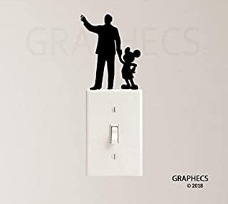 Mouse with Man Vinyl Decal Sticker Light Switch Kids Nursery Room Decor
