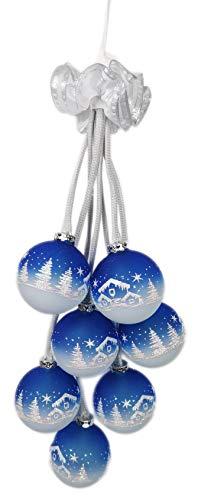 Ingbertson 7-teiliges Leuchtgehänge 39.139.76 Glaskugelschmuck Glaskugelgehänge elektrisch beleuchtet Advent Weihnachten Dekoration Made in Germany