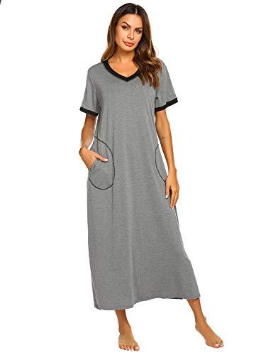Ekouaer Womens Sleepshirts Long Night Gown Loungewear (Dark Grey, XX-Large)