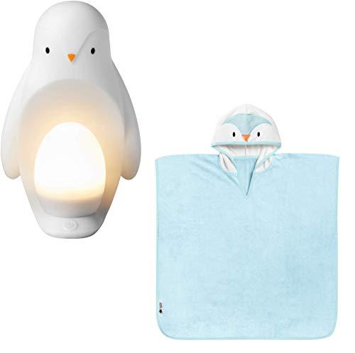 Tommee Tippee 2-in-1 Pinguin Tragbares Nachtlicht + Badeponcho - Percy der Pinguin, Bündel, Jungen