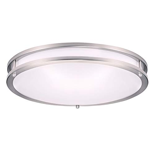 OSTWIN 18 Inch LED Flush Mount Ceiling Light- Dimmable Round Light Fixture- Brushed Nickel Finish- Plastic Shade-28 Watts (180W Eq.) -1960 Lm.- 5000K (Daylight) -ETL and Energy Star Listed