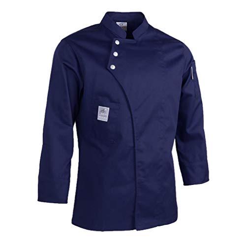 oshhni Chaquetas de Chef Unisex Abrigos Camisas de Manga Larga Uniformes de Cocina - Azul oscuro, L