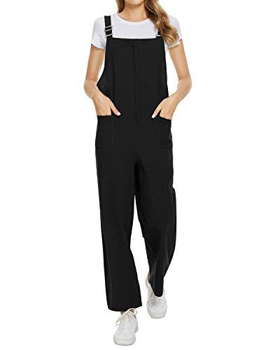 MINTLIMIT Latzhose Damen Jumpsuit Baumwoll Overall mit Taschen Lange Baggy Breites Bein Hosen Herbst Winter Playsuit für Frauen