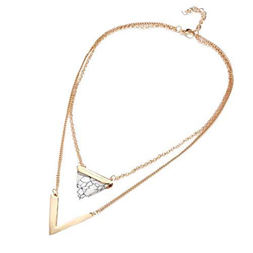 UBL PULABOCollar de doble cadena de cuello triángulo turquesa colgante en forma de V combinación collar niña joyería blanca rendimiento confiable