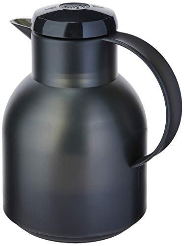 Emsa Samba Isolierkanne 504235 | 1 Liter | Quick Press Verschluss | 100% dicht | 12h heiß, 24h kalt | Schwarz Transluzent