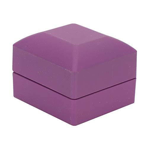 Caja de terciopelo para anillos de 6 x 6 x 5 cm, para propuesta (exterior morado y interior negro)