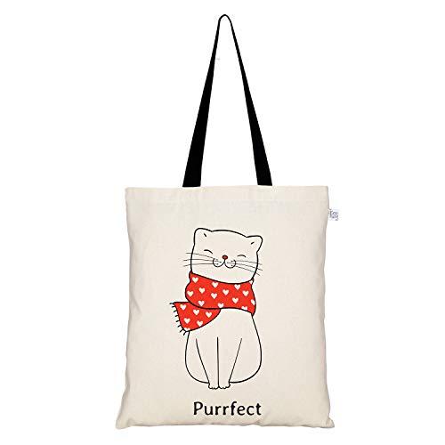 Eco Right Sac fourre-tout en toile imprimée en coton pour femme, sac de plage, sac cabas femme, sac tissu, sacs cadeaux, sacs à provisions, sacs à livres   Le chat parfait