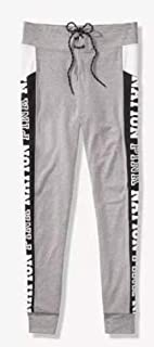 VICTORIA SECRET PINK NATION pants 100% COTTON YOGA - GREY AND WHITE LEGGING CAMPUS LEGGING - SIZE LARGE. grey jogger