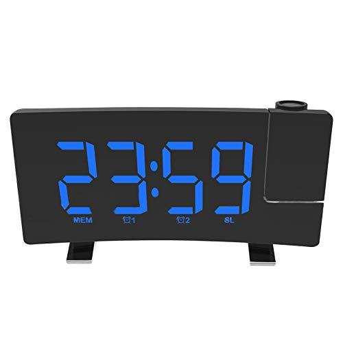 Exnemel Radiorespertador, Despertador de Proyección 180° con 7' Pantalla LED, USB Alarma Doble 3 Niveles Snooze de Brillos Reloj Despertador Digital para Cocina, Dormitorio, Oficina (Número Azul)