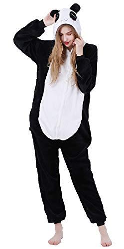 Costume Animali Cosplay Carnevale Halloween Pigiama Tuta Costumi Travestimenti per Uomo Donne Adulti Ragazza (S (per Altezza 150-158cm), Panda)
