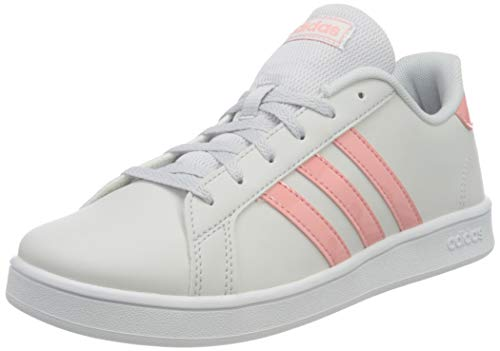 adidas Grand Court K, Scarpe da Tennis Unisex-Bambini, Grigio Scuro/Rosso Gloria/Bianco Ftwr, 35.5 EU